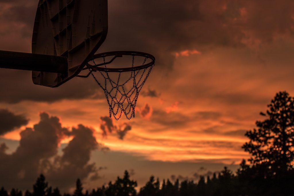 basketball goal at sunset