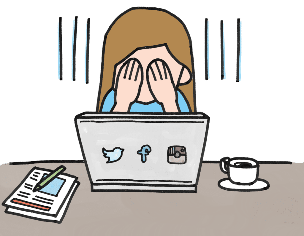 cartoon drawing of woman on laptop